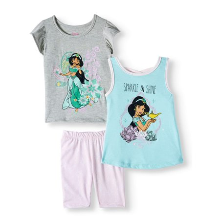 Princess Jasmine Outfit Ideas (Disney Aladdin Princess Jasmine Fashion Tops and Legging, 3-Piece Outfit Set (Little)