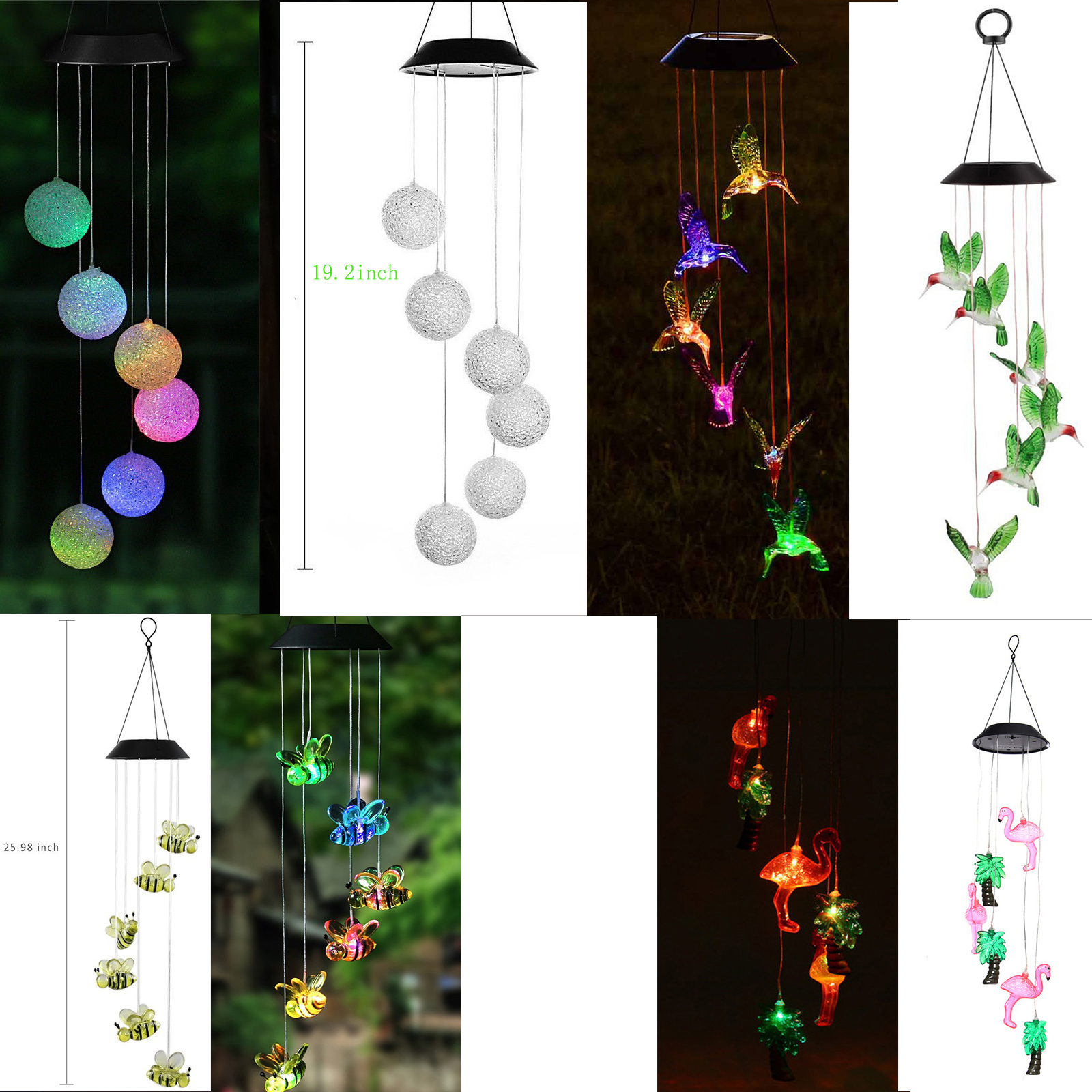 Imeshbean Led Color Changing Power Solar Wind Chimes Yard Home Garden Decor Walmart Com Walmart Com