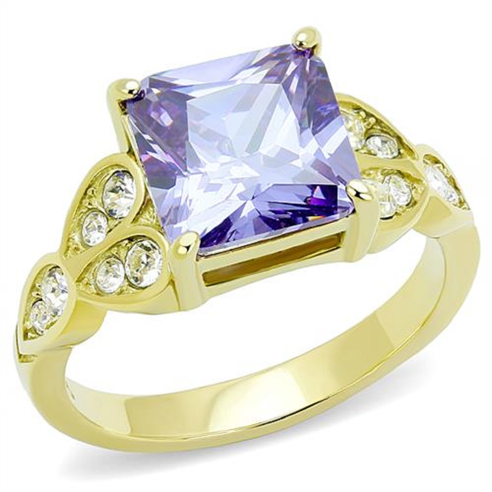 New Stainless Steel Gold IP Amethyst Purple Square Cocktail Ring, Sizes 5-10 by