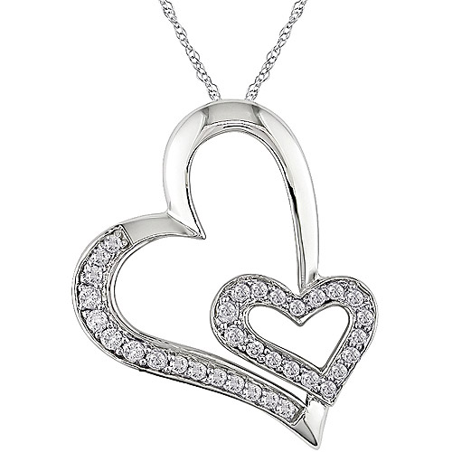 "Miabella 1/4 Carat T.W. Diamond 10kt White Gold Double-Heart Pendant, 17"""
