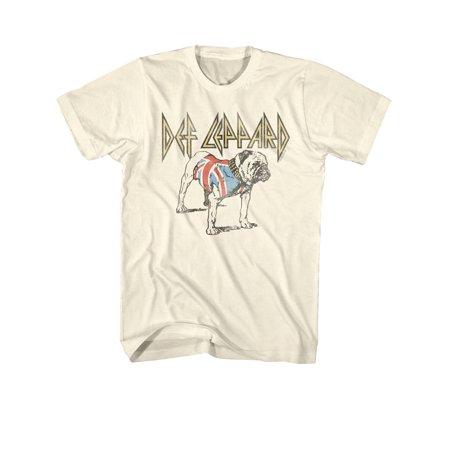 Bulldogs Mens Leather - Def Leppard Bulldog Mens Tee Shirt - Cream, 2XL