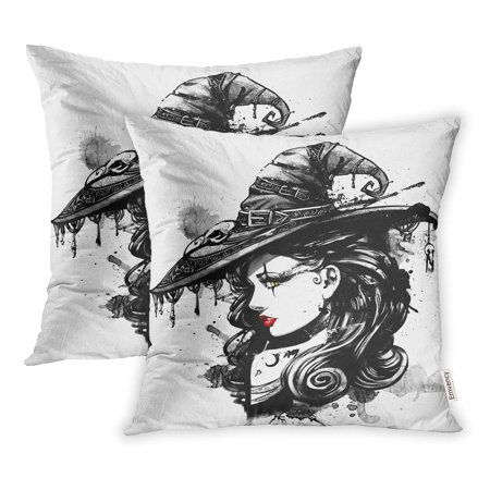 BOSDECO Dark Charming Witch in Big Fancy Hat Fantasy Attractive Pillowcase Pillow Cover 16x16 inch Set of 2 - image 1 of 1