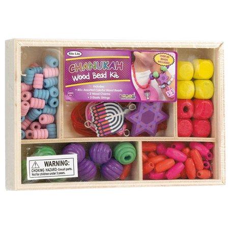"""11.75"""" Hanukkah Wood Craft Bead Kit over 80 pieces - Chanukah Crafts"""