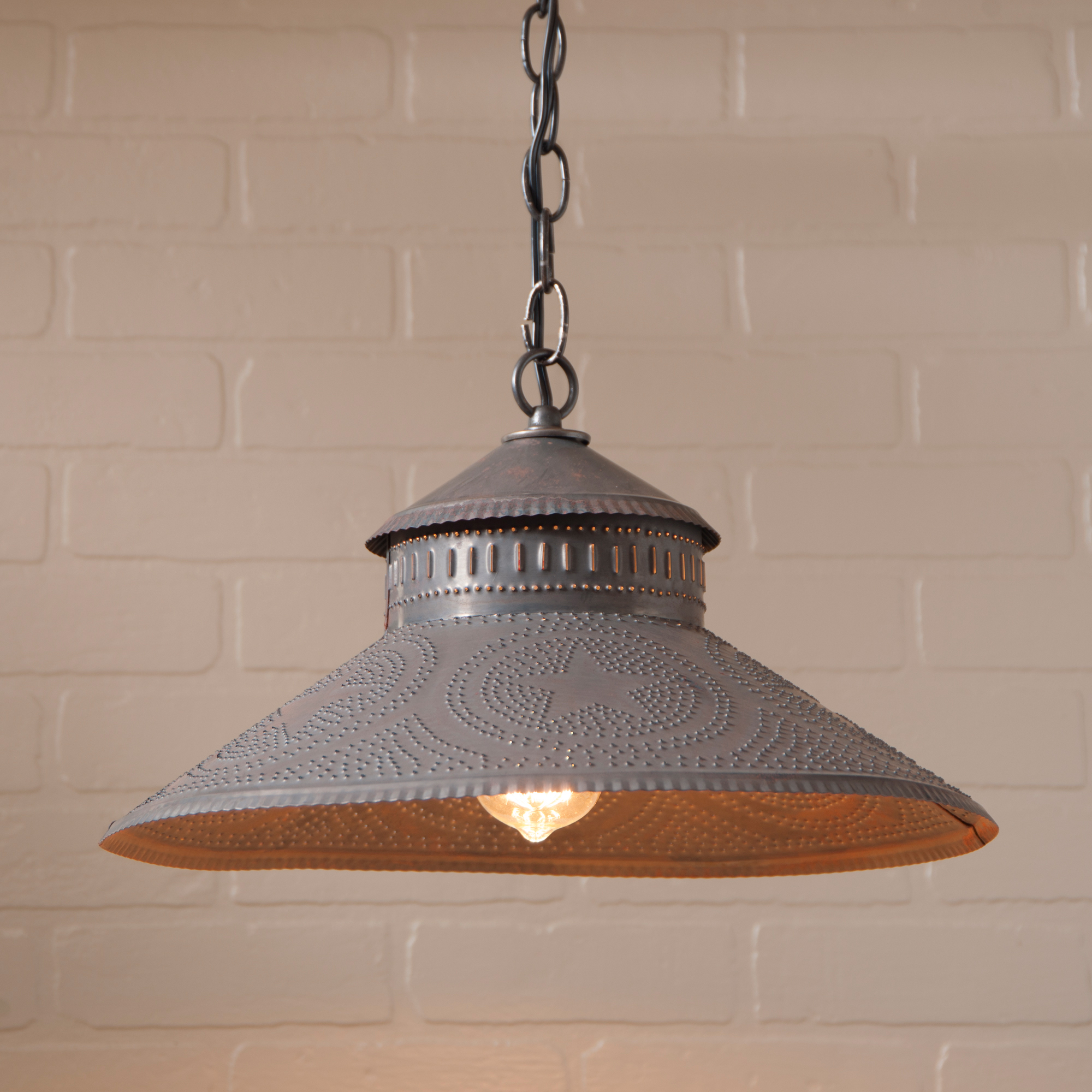 Shopkeeper Shade Light Pendant with Regular Star in Blackened Punched Tin