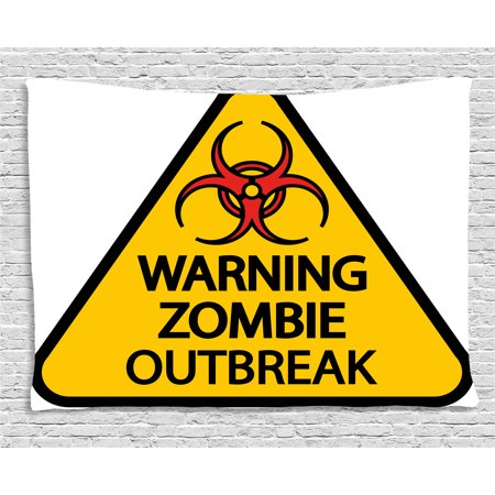 Zombie Decor Tapestry, Warning Zombie Outbreak Sign Cemetery Infection Halloween Graphic, Wall Hanging for Bedroom Living Room Dorm Decor, 60W X 40L Inches, Earth Yellow Red Black, by Ambesonne](Halloween Cemetery Signs)