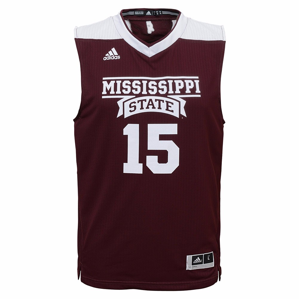 Mississippi State Bulldogs NCAA Adidas Youth Maroon Official #15 Road Replica Basketball Jersey