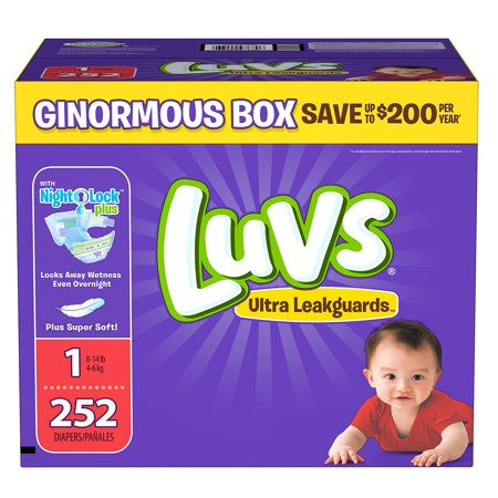 Diaper Covers Free Shipping ([Diapers]-Luvs Ultra Leakguards Diapers Size 1 - 252 ct. ( Weight 8- 14 lb.) - Bulk Qty, Free Shipping - Comfortable, Soft, No leaking & Good nite Diapers )