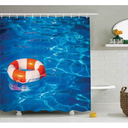 Buoy decor shower curtain set life buoy in crystal clear Swimming pool shower curtain