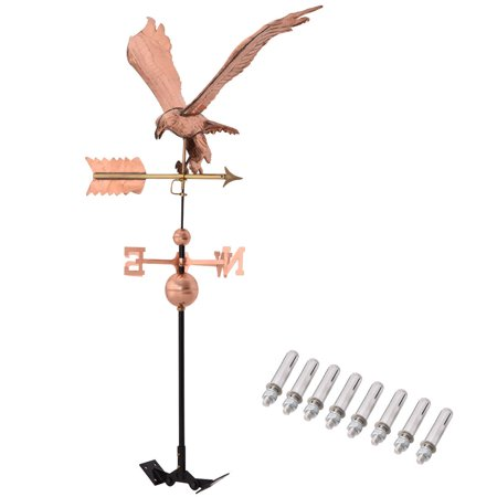 Goplus Polished Copper Roof Mounted Outdoor Eagle Weathervane Wind Weather Direction