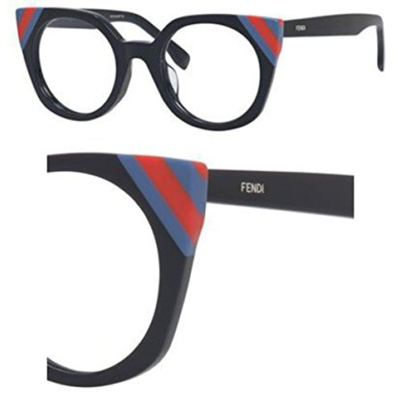 Fendi FF 0246 PJP Waves Dark Blue Striped Red Blue Plastic Cat-Eye Eyeglasses (Fendi Eyeglass)