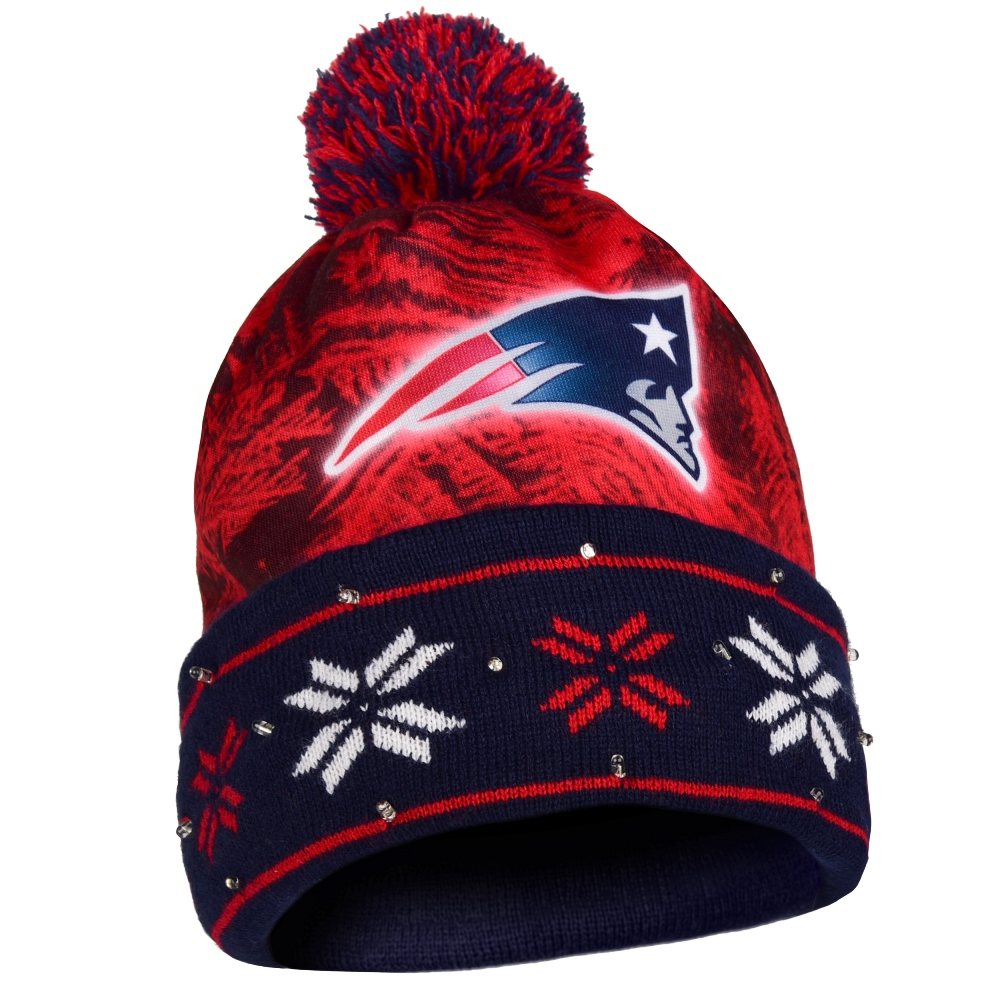 "New England Patriots NFL ""Big Logo"" LED Light Up Cuffed Knit Hat with Pom"