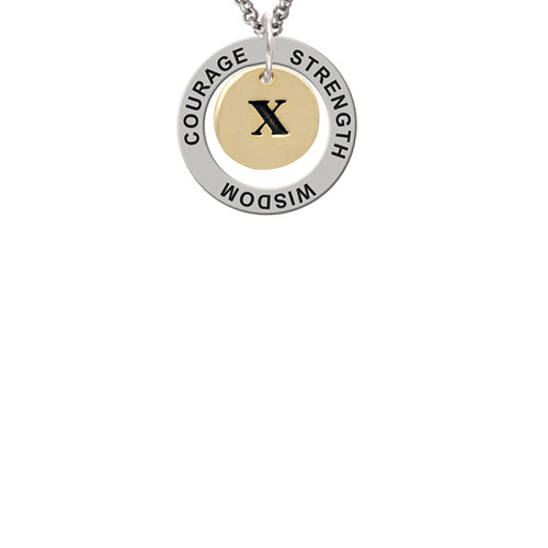 Gold Tone Disc 1/2'' Initial - x - Strength Wisdom Courage Affirmation Ring Necklace