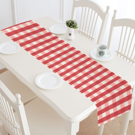 MKHERT Red White Checkered Plaid Elegant Gingham Check Table Runner Home Decor for Kitchen Dining Wedding Party 16x72 Inch](Gingham Table Runners)
