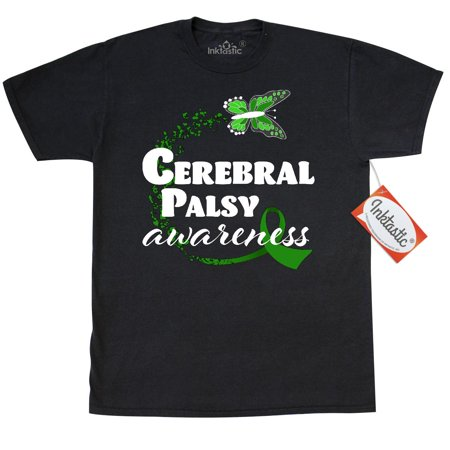 Inktastic Cerebral Palsy Awareness With Green Butterfly And Ribbon T-Shirt Support Hope Caring Love Children Kids Family Parents Mens Adult Clothing Apparel Tees T-shirts