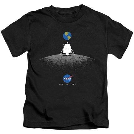 Trevco Sportswear NASA146-KT-2 NASA & Moon Landing Simple-Short Sleeve Juvenile 18-1 T-Shirt, Black - Medium 5-6 - image 1 de 1