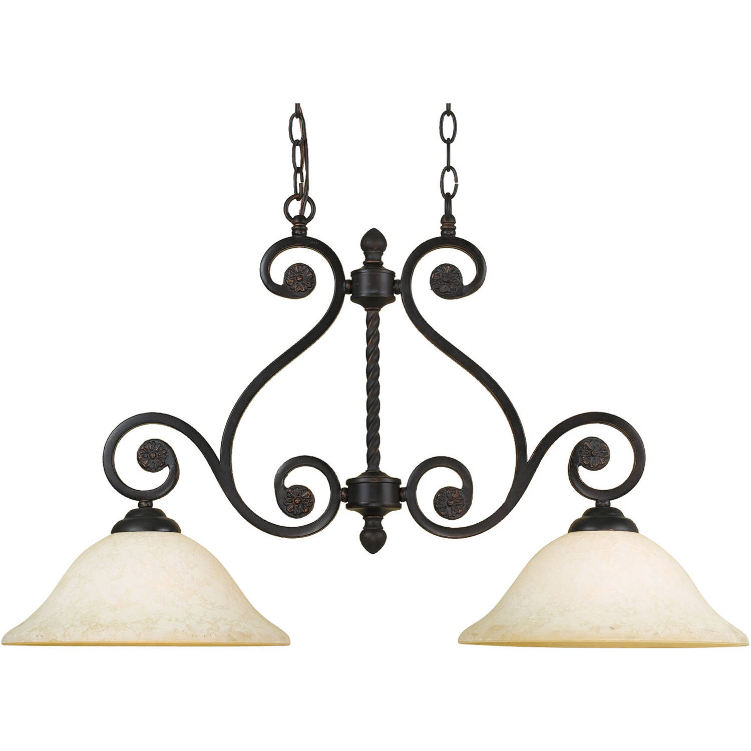AF Lighting Harmony 2-Light Island Fixture with Frosted Alabaster Glass Shades, Oil-Rubbed Bronze