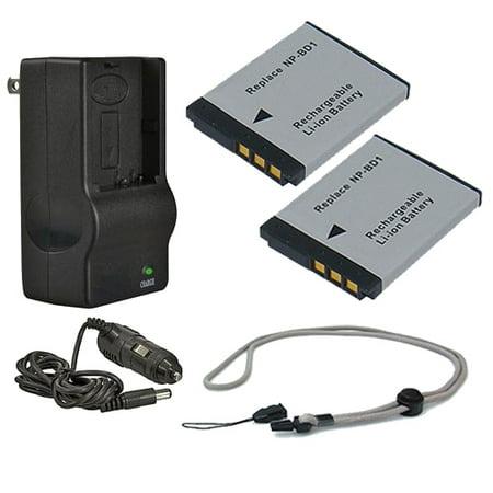 Sony Cybershot DSC-T200 High Capacity Batteries (2 Units) + AC/DC Travel Charger + Krusell Multidapt Neck Strap (Black Finish)