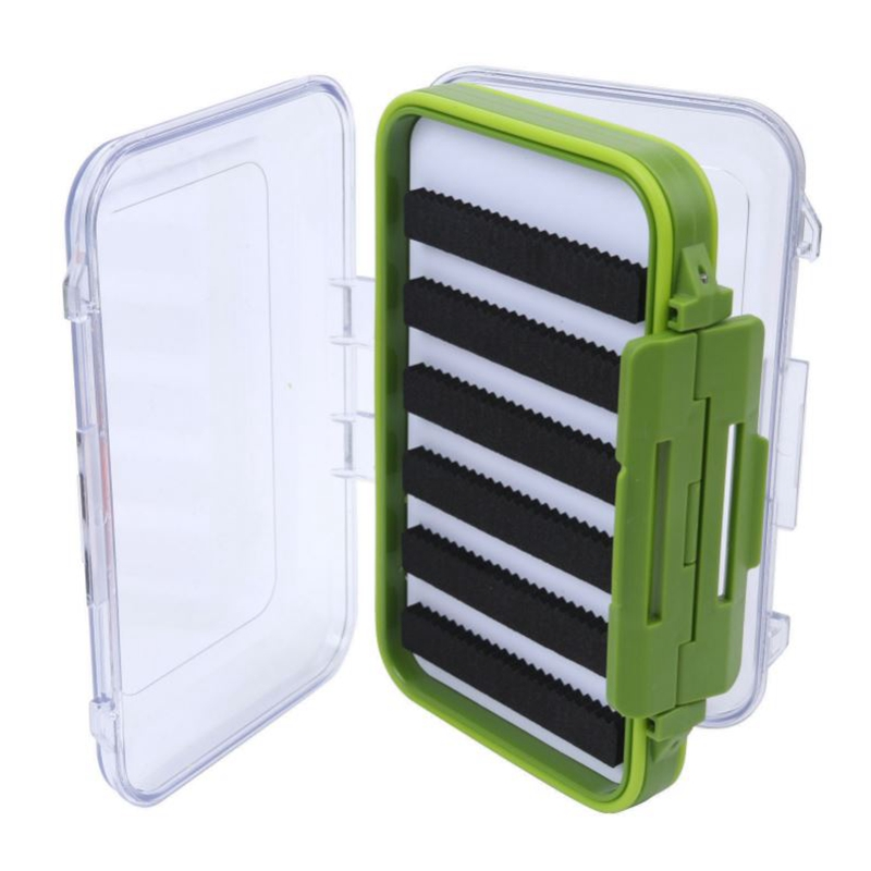 Waterproof Plastic Fly Box Slit Foam Double Side Clear Fly Fishing Tackle Box Black Green by