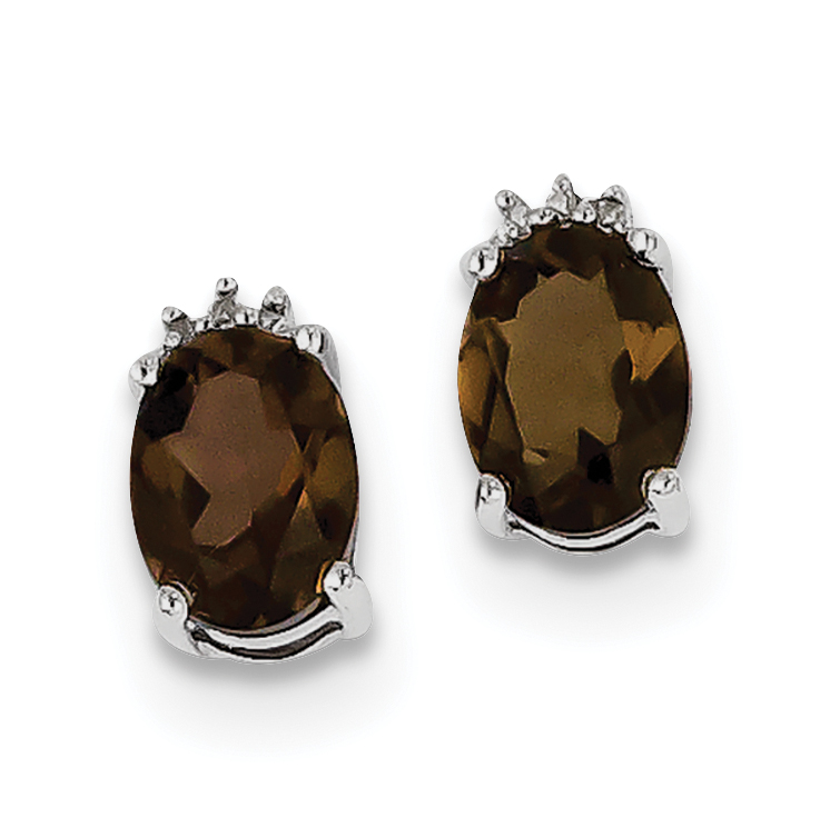 Sterling Silver Rhodium Plated Oval Smoky Quartz Diamond Post Earrings QDX656 - image 2 de 2