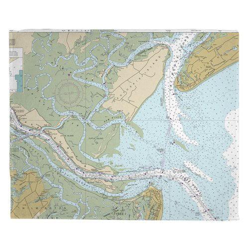 Breakwater Bay Markle Daufuskie Turtle Jones Island SC Nautical Chart Throw