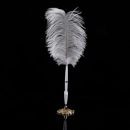 - Ostrich Feather Wedding Guestbook Reception Pen Set With Gold/Sliver Holder (Gold )