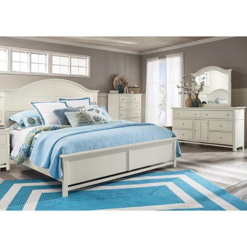 Panama Jack Colors Arch Panel Queen Bed with 6-Drawer Dresser and Mirror