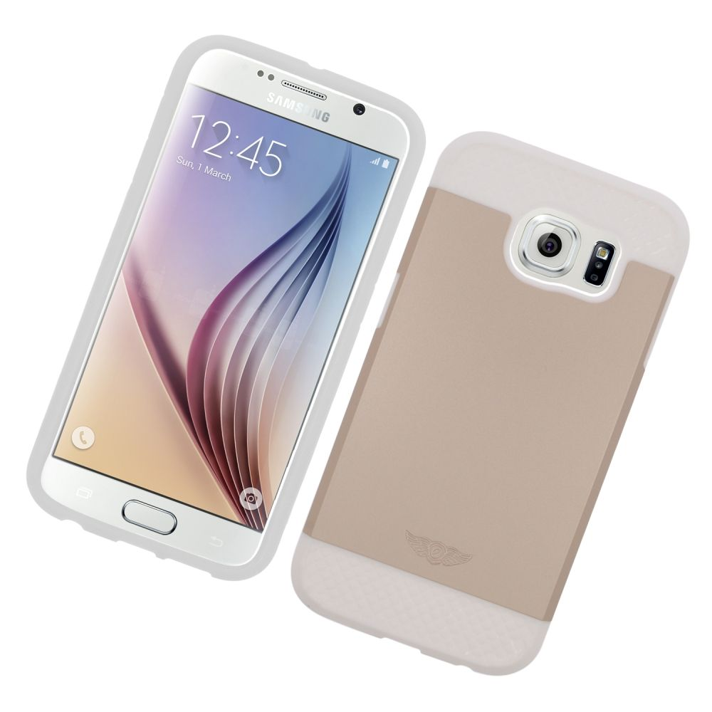 Insten Hard Hybrid Silicone Case For Samsung Galaxy S6 - Gold/White - image 1 of 3