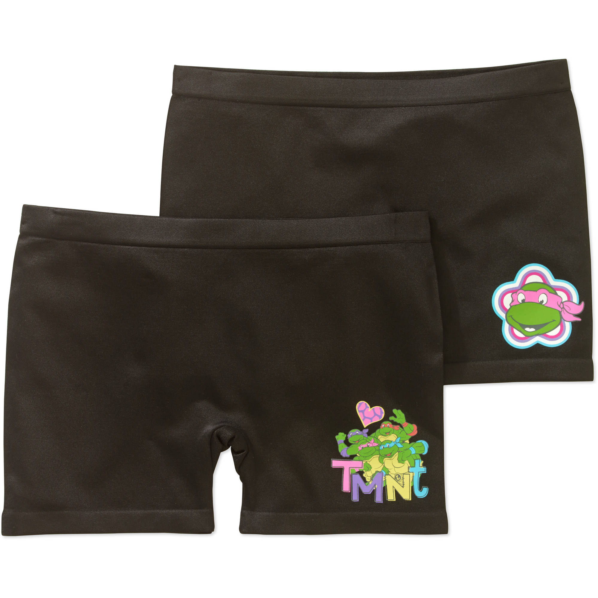 Ninja Turtles Girls' Seamless Play Shorts 2 Pack