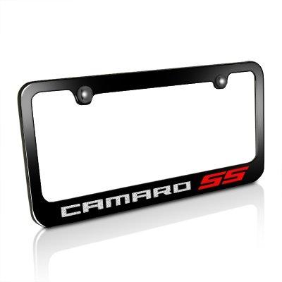 Chevrolet Camaro Red SS Black Metal License Plate Frame