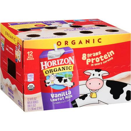 Horizon Organic Vanilla Lowfat Milk  8 Fl Oz  12 Count