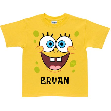 Personalized SpongeBob SquarePants Face Toddler Yellow T-Shirt (Assymetrical Bob)