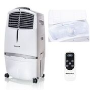 Honeywell CL30XCWW 525 CFM 320 sq. ft. Indoor Portable Evaporative Air Cooler (Swamp Cooler) with Remote Control and Bonus Replacement Filter, White