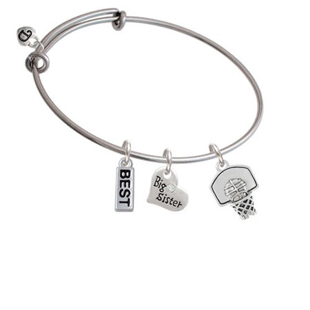 3-D Basketball in Hoop Big Sister Heart Expandable Bangle Bracelet