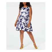 VINCE CAMUTO Womens Blue Floral Sleeveless Jewel Neck Mini Fit + Flare Party Dress  Size: 24W