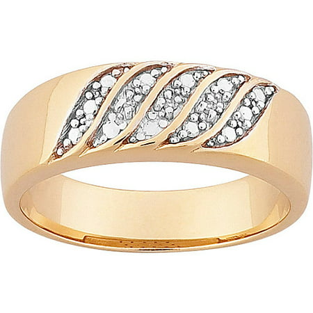 Men's 7mm Diamond Accent Two-Tone Gold-Plated Wedding Band 7mm Diamond Designer Band