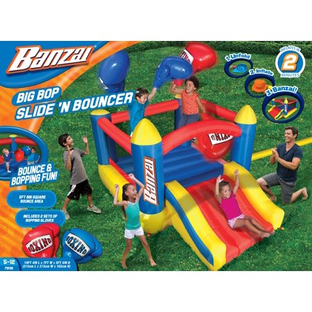 Banzai Big Bop Slide N Bouncer (Inflatable Backyard Boxing Ring Gloves Jumping Bounce House Summer Bouncing Castle)