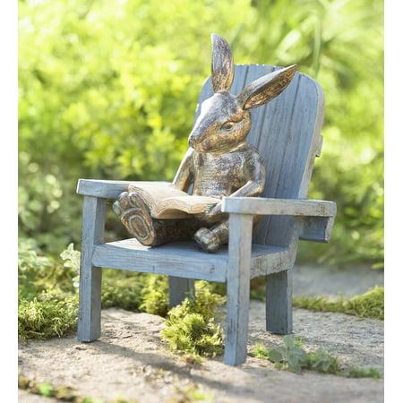 Plow & Hearth Reading Rabbit Outdoor Garden Statue, 5.75