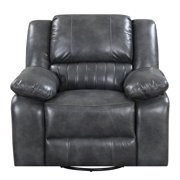 Pemberly Row Jackson Gray Swivel Reclining Glider with Faux Leather Upholstery