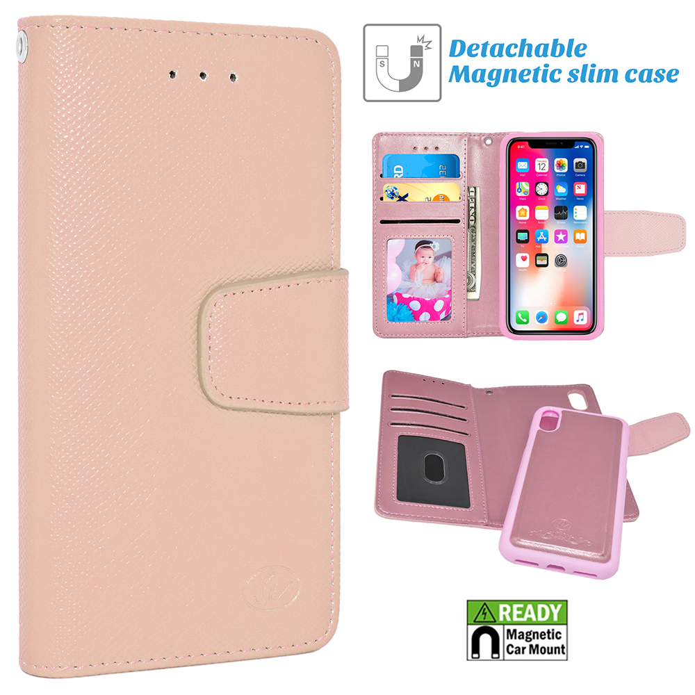 Apple IPhone X; 10 Folio Leather Removable Magnetic Wallet Case Cover Pink
