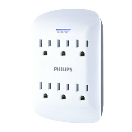 Outlet Wall Flange - Philips 6-Outlet Surge Protector Wall Adapter, White, SPP3461WA/37