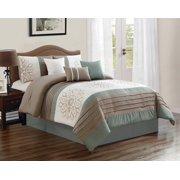 HGMart Bedding Comforter Set Bed In A Bag - 7 Piece Luxury Embroidery Microfiber Bedding Sets - Oversized Bedroom Comforters, Cal King Size, Sage