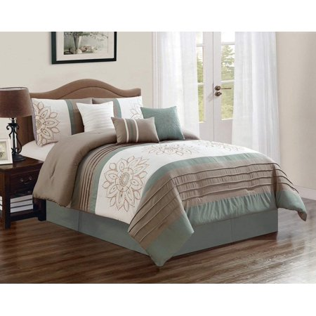 7 Piece Oversized Luxury Embroidery Bed in Bag Microfiber Comforter Set (Sage, Cal King) ()
