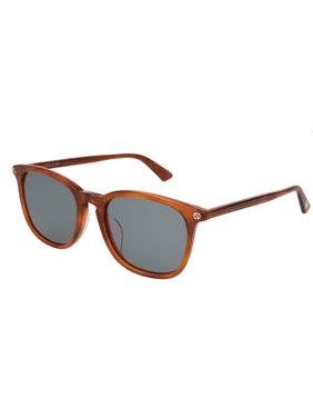 a42161b5a2bb8 Product Image Gucci GG0154SA 003 Sunglasses Light Havana Brown Frame Blue  Lenses 53mm