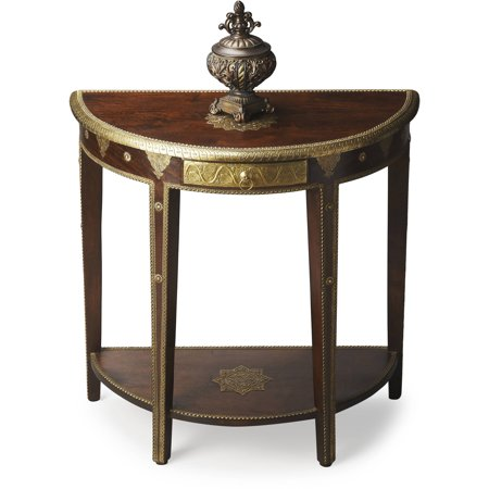 Butler Krishna Carved Mango With Brass Detailed Demilune Table