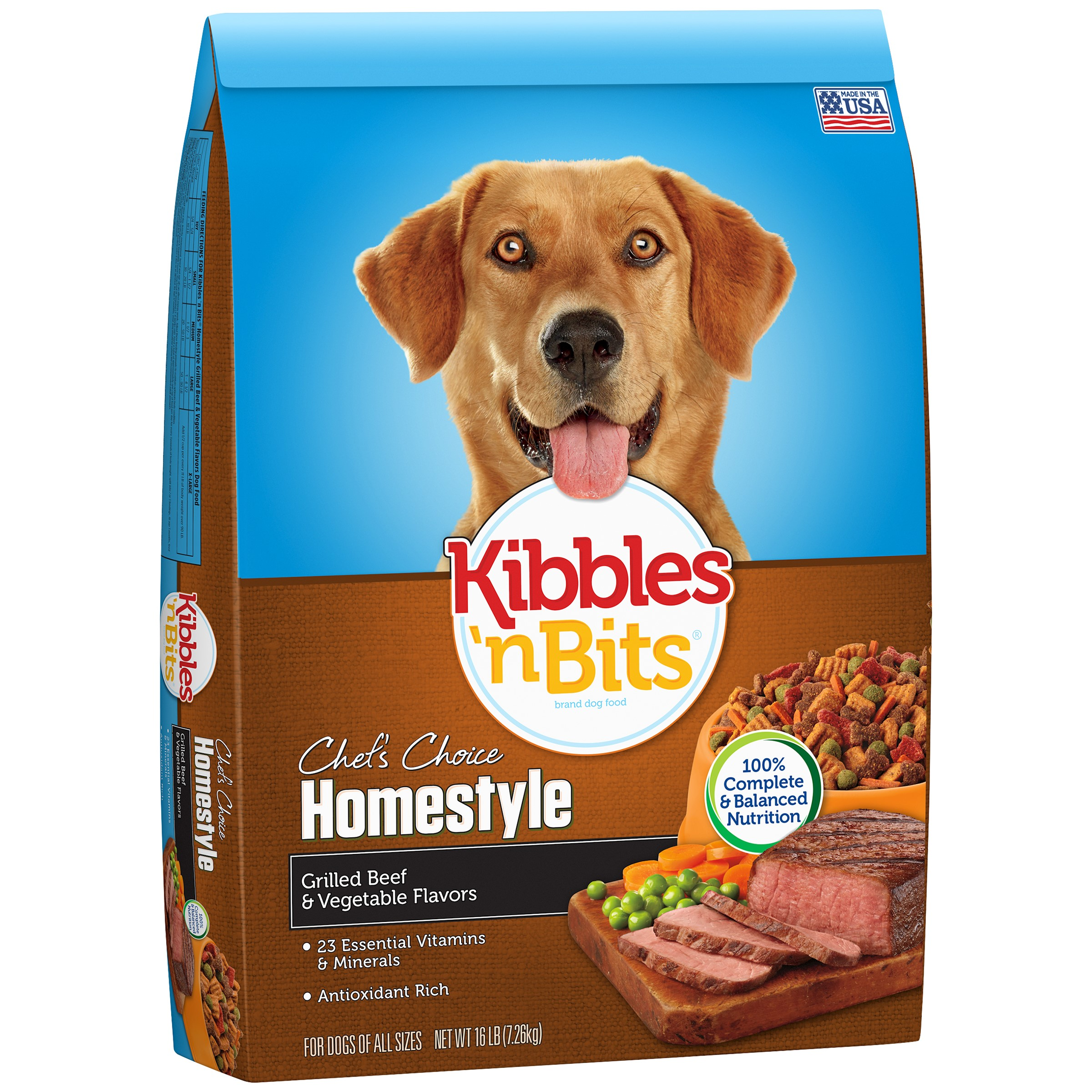 Kibbles 'n Bits Homestyle Grilled Beef Steak and Vegetable Flavor Dry Dog Food, 16 Pound
