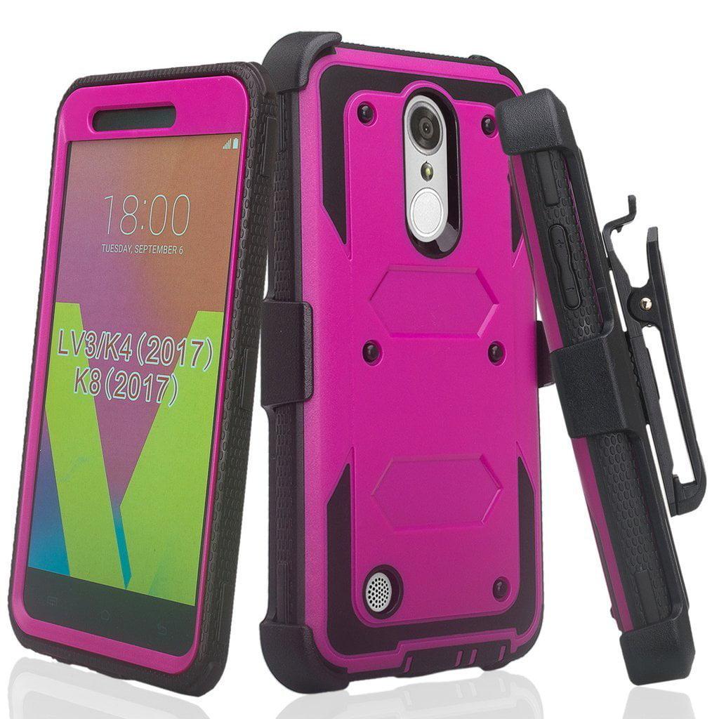 Soga Cover Compatible Lg K30 Lg K10 2018 K10 Plus Lg K10a Lg X4 Lg Premier Pro Lte Case Triguard Shockproof Rugged Hybrid Armor Case With Belt Clip Holster Built In Screen Protector Pink Walmart Com