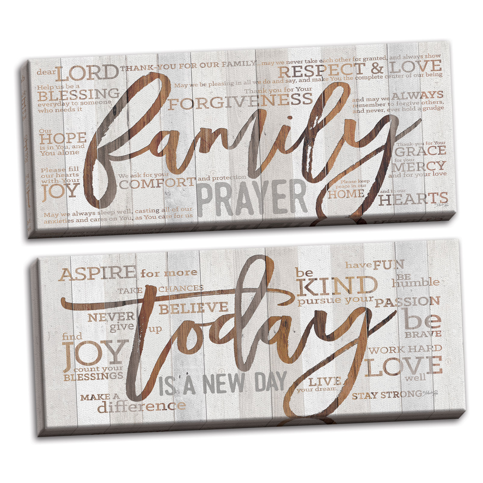 Gango Home Decor Contemporary Family Prayer & Today is a New Day by Marla Rae (Ready to Hang); Two 20x8in Hand-Stretched Canvases