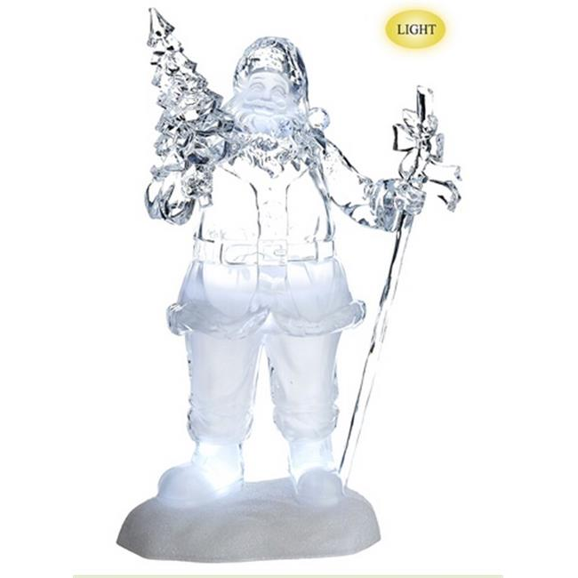 NorthLight 16 in. Icy Crystal Jolly Santa With Tree LED Lighted Musical Christmas Figure