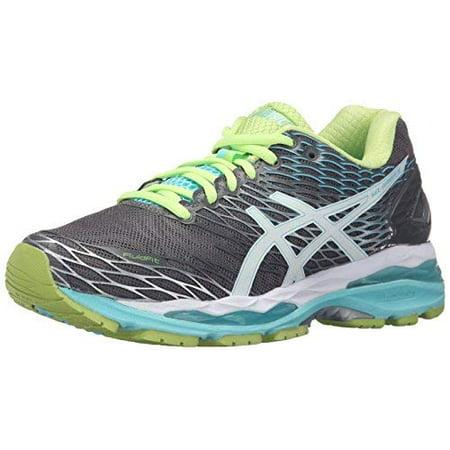 ASICS Women's Gel Nimbus 18 Running Shoe, TitaniumWhiteTurquoise, 8 D US