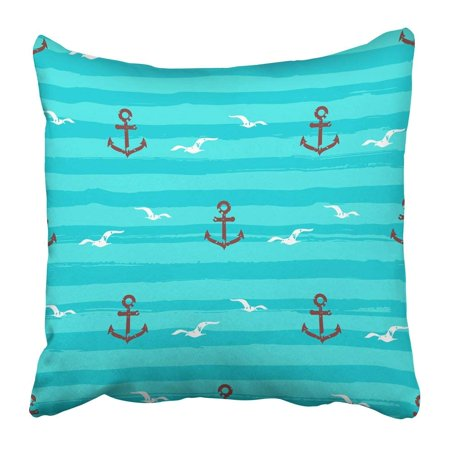 Gull Circle (ARTJIA Blue Abstract Marine Pattern Anchors Gull and Stripes Waves Aquamarine Turquoise Aqua Bird Circle Pillowcase 18x18 inch )